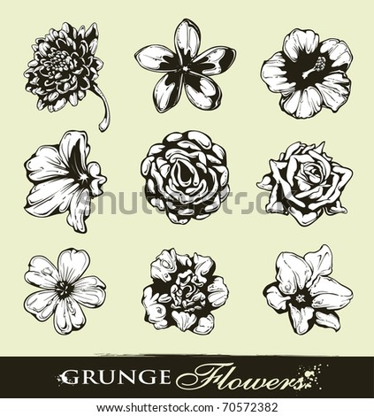 Set of grungy flowers. Layered. Vector EPS 10 illustration. - stock vector