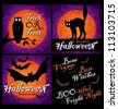 set of 3 grungy halloween designs and greetings with bats, night owl, cat and full moon, vector (eps8) - stock vector