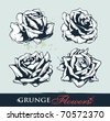 Set of grungy roses. Vector EPS 10 illustration. - stock vector