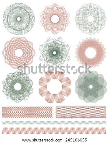 Set of Guilloche decorative elements. Vector illustration. - stock vector