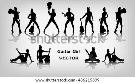 Set of guitar girl silhouettes on gray background