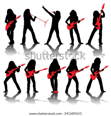 Set of guitarists silhouettes isolated on white. Vector illustration - stock vector
