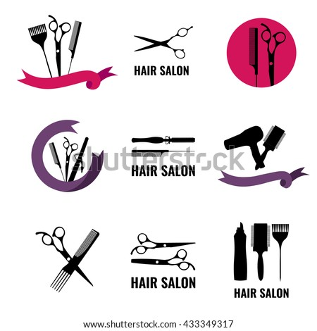 set hair salon logo labels design stock vector hd royalty free rh shutterstock com hair salon logo designs hair salon logo designer