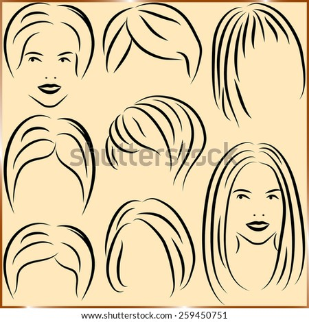 Set of haircut icons. Vector illustration - stock vector
