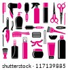 Set Of Hairdressing Accessories - stock vector