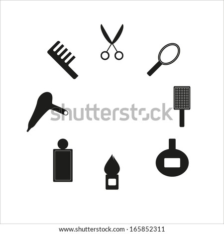 Set of hairdressing icons - stock vector
