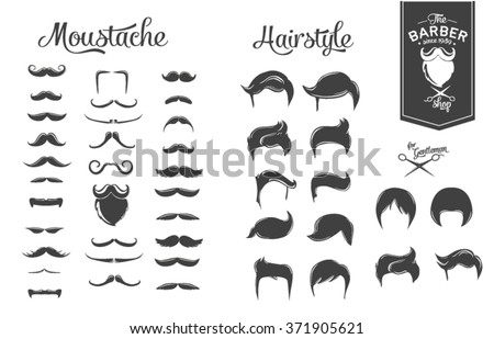 Set of hairstyles, beards and moustaches.