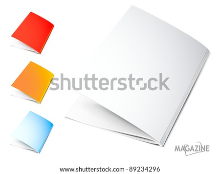 Set of half-opened magazines - stock vector