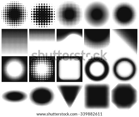 Set of halftone backgrounds. Dotted abstract forms: frames, circles, rectangles. Black dots on white background. Vector illustration. Blank design elements collection with halftones.  - stock vector