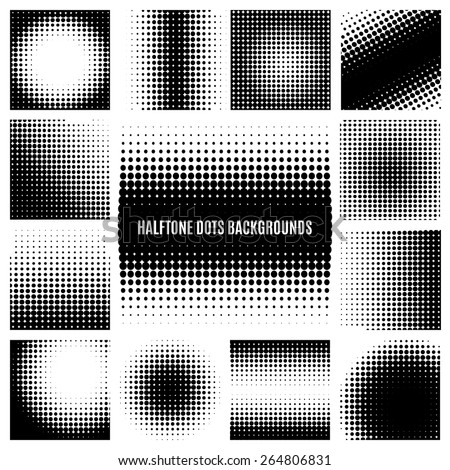 Set of halftone dots backgrounds. Round and texture backdrop. Vector illustration - stock vector