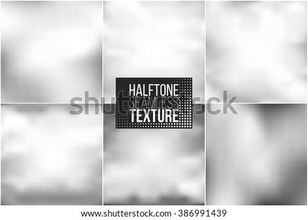 Set of 6 halftone seamless vector backgrounds. Abstract halftone effect for your design - stock vector