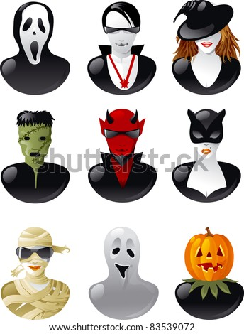 Set of  halloween avatars. Nine people in clothes of  halloween personages. - stock vector