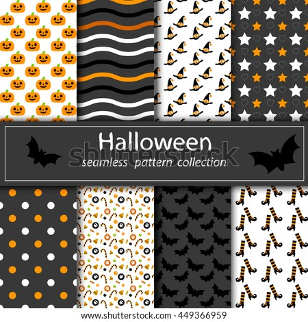 Set of halloween backgrounds collection of seamless patterns in traditional colors of the holiday