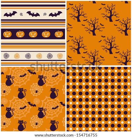 Set of halloween backgrounds. Vector illustration. - stock vector