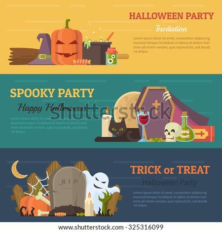 Set of Halloween banner, flyer or invitation. Vector flat design illustration - stock vector