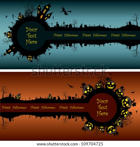 Set of Halloween banners - stock vector