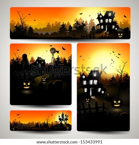 Set of Halloween banners  - stock vector