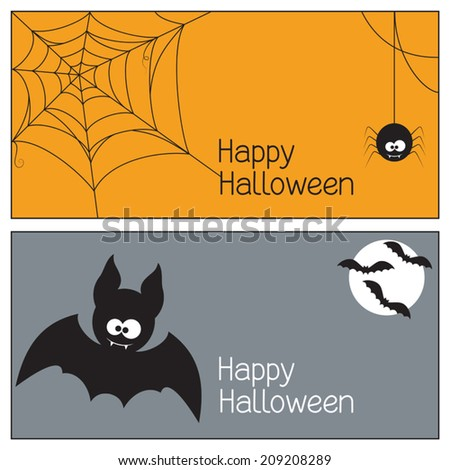 Set of Halloween banners with spider, web and bats - stock vector