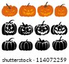 Set of halloween black and orange pumpkin. Vector illustration. - stock vector