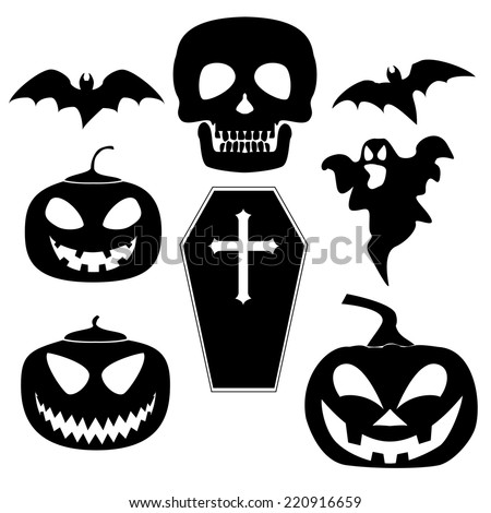 Set of Halloween black icons. - stock vector