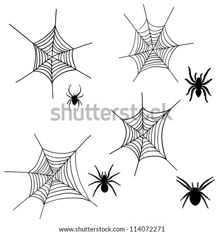 Set of halloween black spider with nets. Vector illustration. - stock vector