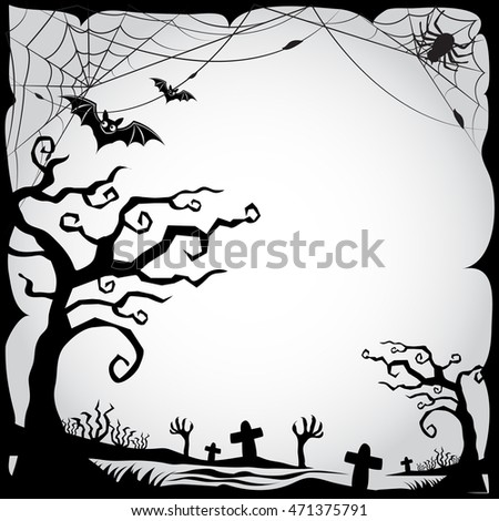set of halloween border and frame black&white
