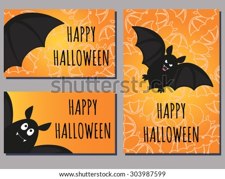 set of Halloween cards with cute cartoon bats - stock vector