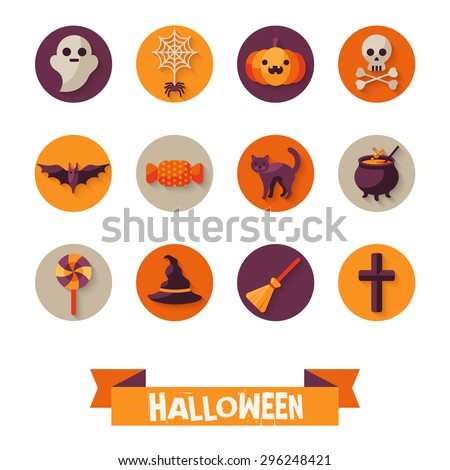 Set of Halloween Characters on Circles with Long Shadow. Scrapbook elements. Vector illustration. Black Cat, Sweet Candy, Spider and Web, Orange Pumpkin, Witch Hat and Broom. - stock vector