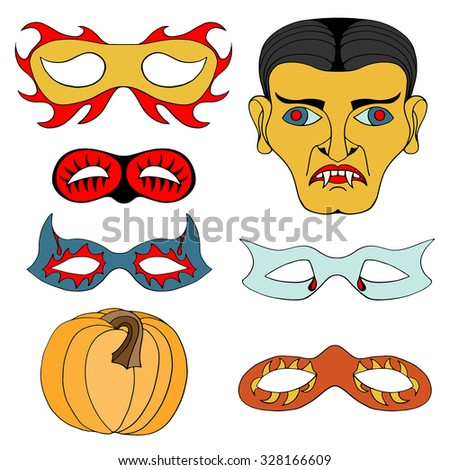 Set of Halloween colored mask. Vector illustration. Isolated on white - stock vector