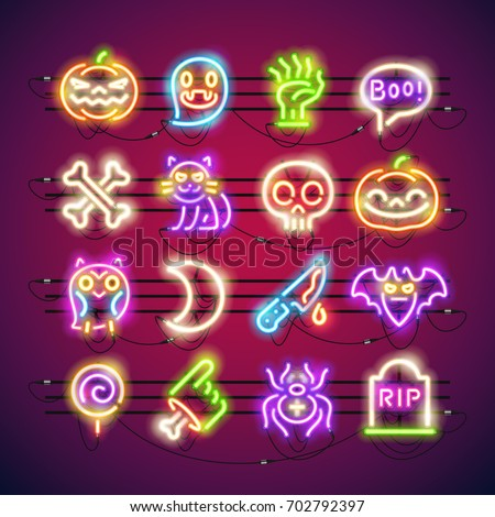 Favorite Set Halloween Colorful Neon Signs Makes Stock Vector 702792397  HF83