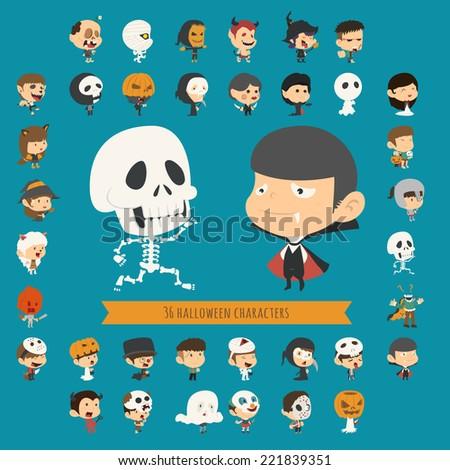 Set of 40 halloween costume characters , eps10 vector format - stock vector