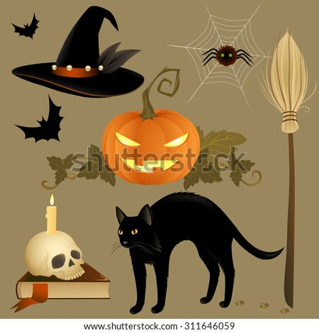 Set of Halloween creatures and objects. Vector illustration. - stock vector