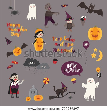 Set Halloween Design Elements Objects Signs Stock Vector 722989897