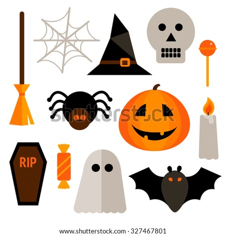 Set of Halloween elements - stock vector