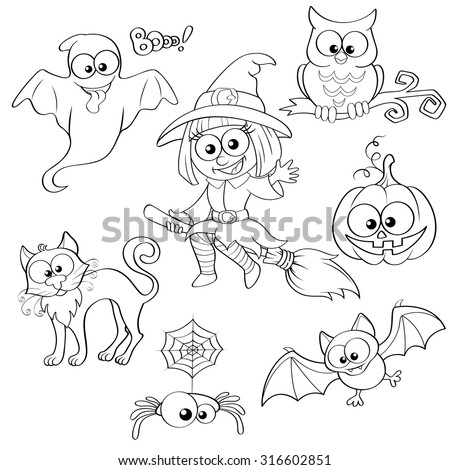 Set of Halloween elements. Black and white vector illustration for coloring book  - stock vector
