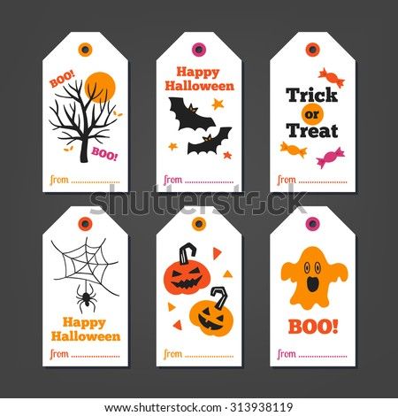 Set of Halloween Gift Tags with autumn tree, bats, candy, spider, pumpkins and ghost on white background. Perfect for holiday greetings - stock vector