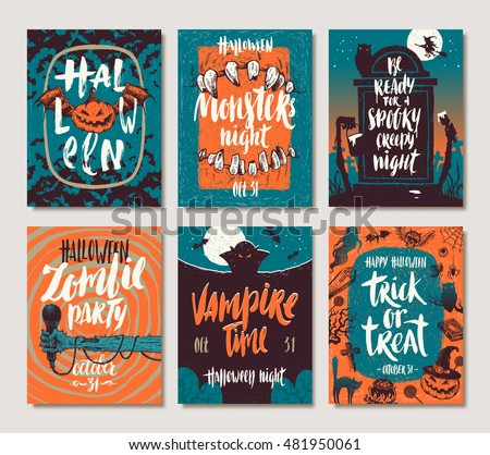 Set of Halloween holidays hand drawn posters or greeting card with handwritten calligraphy quotes, words and phrases. Vector illustration.