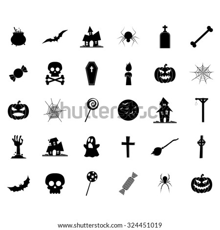 Set of halloween icons on a white background - stock vector