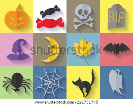 Set of halloween icons - pumpkin, candies, bat, cat, headstone, ghost, spider, moon, hat, crossbones, web. Flat style. - stock vector