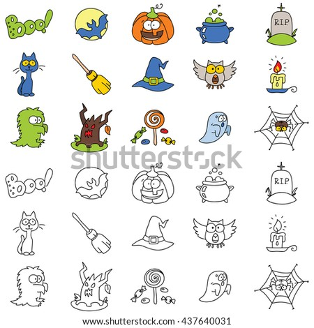Set of halloween icons. Vector doodle illustration. - stock vector