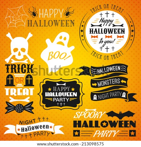 Set of halloween labels, ribbons and other decorative elements. Vector illustration for holiday design. Black, white and bright orange colors. Funny party style. - stock vector