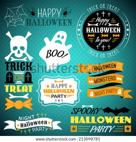Set of halloween labels, ribbons and other decorative elements. Vector illustration for holiday design. Black, white, orange and blue colors. Night party style. - stock vector