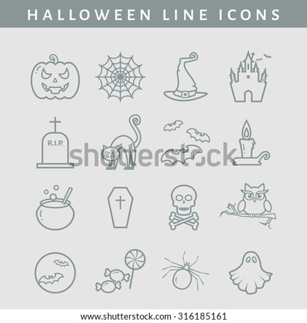 Set of halloween line icons. Collection of outline symbols isolated on clear background. Vector illustration. - stock vector