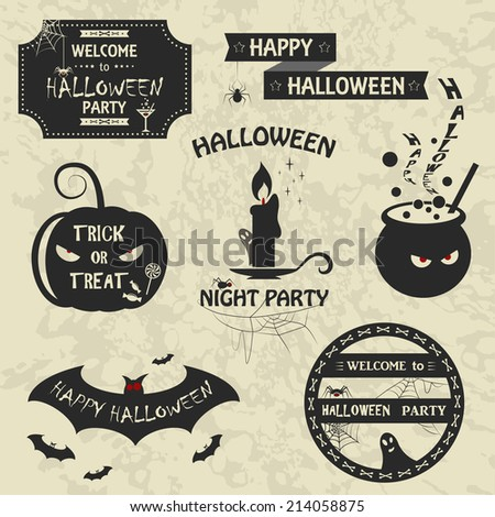 Set of halloween night decorative elements. Vector illustration. Retro style. Collection include invitation to a party, pumpkin, bat, candle, pot sign isolated - stock vector