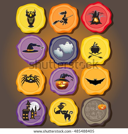 Set of Halloween objects and icons for your design. Vector Design elements for a holiday.