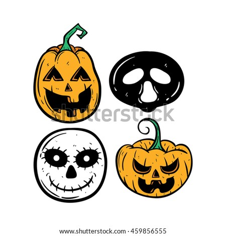 Set of Halloween pumpkin with scary ghost on white background