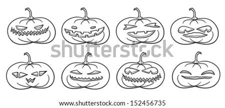 Set of Halloween pumpkins contours on white. - stock vector