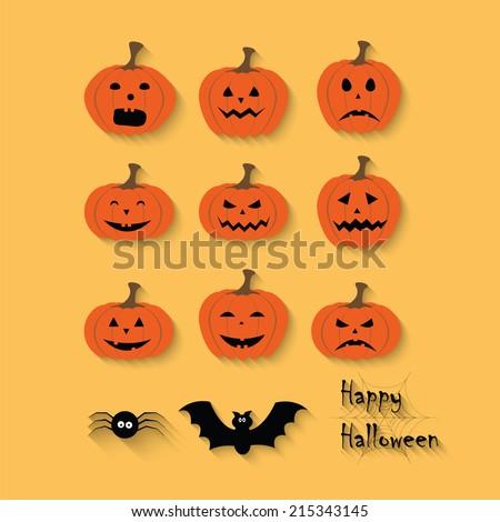 Set of Halloween pumpkins, spider, bat, web. Happy Halloween. Vector - stock vector