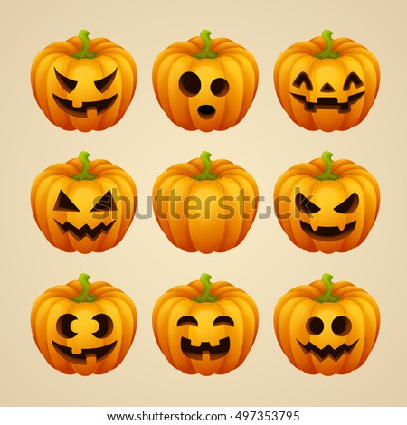 Set of Halloween pumpkins. Vector illustration.