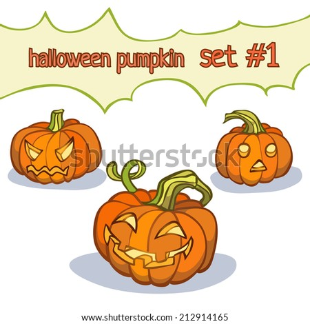 Set of 3 halloween pumpkins.  Vector illustration, EPS 10. Contains transparent objects